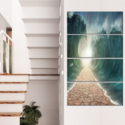Designart Pathway Through The Parted Seas Canvas Print - 4 Panels
