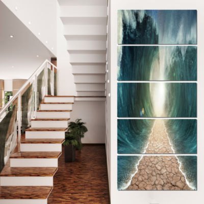 Designart Pathway Through The Parted Seas Canvas Print - 5 Panels