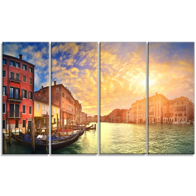 Design Art Majestic Sunset Over Venice Cityscape Canvas Art Print - 4 Panels