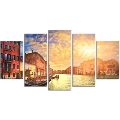 Designart Majestic Sunset Over Venice Cityscape Canvas Art Print - 5 Panels