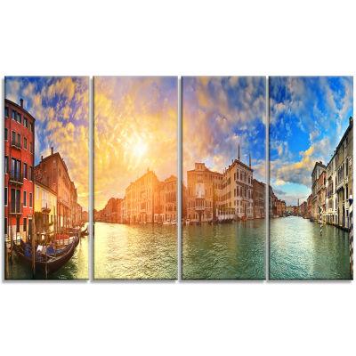 Designart Grand Canal Venice Panorama Cityscape Canvas Art Print - 4 Panels