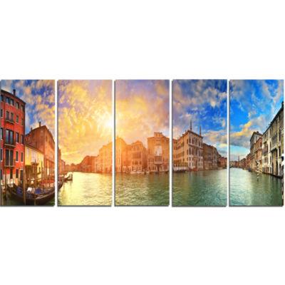 Designart Grand Canal Venice Panorama Cityscape Canvas Art Print - 5 Panels