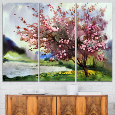 Design Art Tree With Spring Flowers Art Canvas Print - 3 Panels