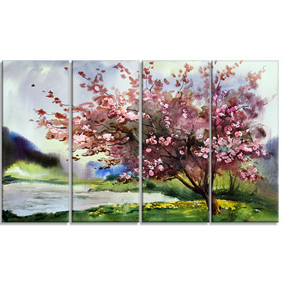 Designart Tree With Spring Flowers Art Canvas Print - 4 Panels