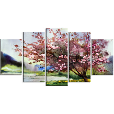 Design Art Tree With Spring Flowers Art Canvas Print - 5 Panels