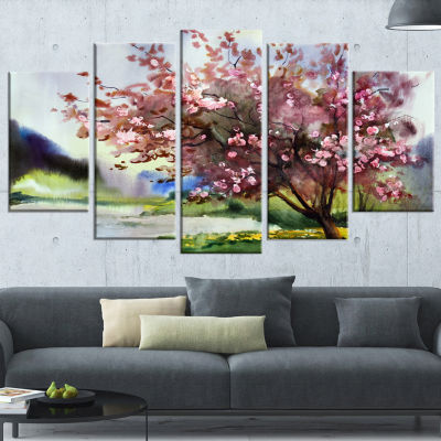 Designart Tree With Spring Flowers Art Canvas Print - 5 Panels
