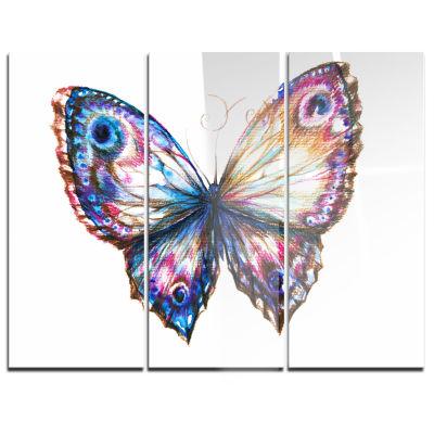Designart Isolated Butterfly Animal Art On Canvas-3 Panels