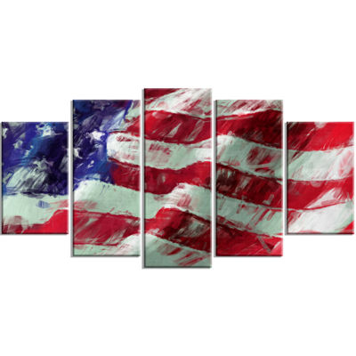 Designart USA Flag Abstract Art Map & Flag CanvasArt Print - 5 Panels
