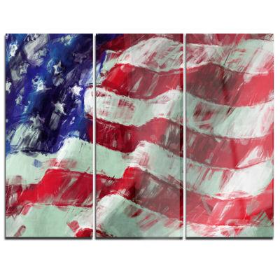 Designart USA Flag Abstract Map & Flag Canvas ArtPrint - 3 Panels