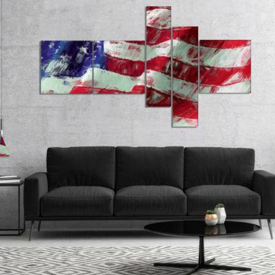 Designart USA Flag Abstract Map & Flag Canvas ArtPrint - 5 Panels
