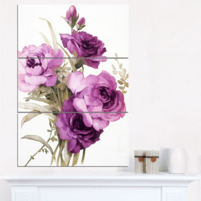 Design Art Bunch Of Purple Flowers Art Canvas Print- 3 Panels