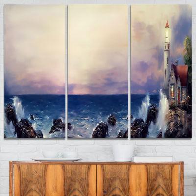 Designart Lighthouse Sea Panoramic Landscape ArtPrint Canvas - 3 Panels
