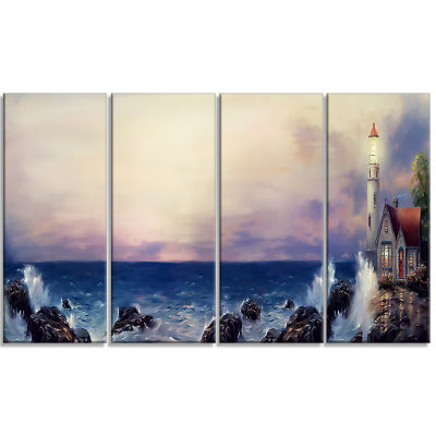 Design Art Lighthouse Sea Panoramic Landscape ArtPrint Canvas - 4 Panels