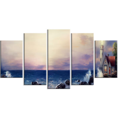 Designart Lighthouse Sea Panoramic Landscape Art Print Canvas - 5 Panels