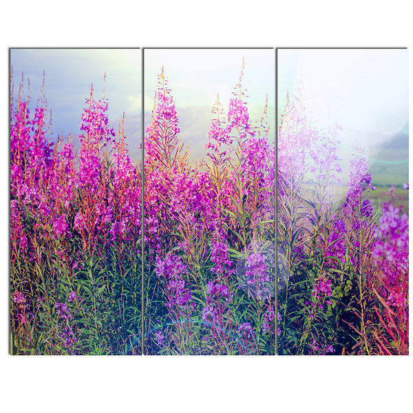 Designart Blooming Purple Flowers In Meadow CanvasWall Art - 3 Panels