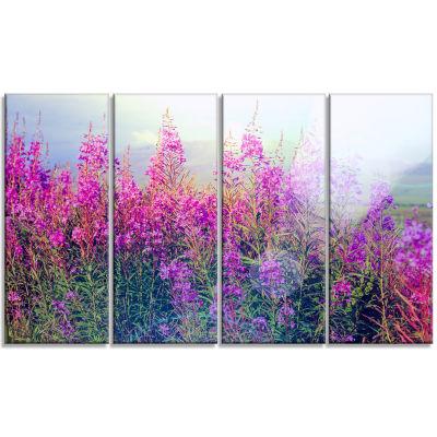 Designart Blooming Purple Flowers In Meadow CanvasWall Art - 4 Panels