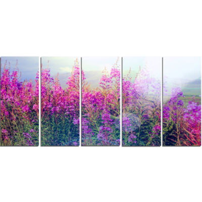 Design Art Blooming Purple Flowers In Meadow CanvasWall Art - 5 Panels