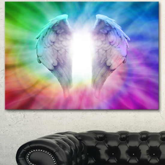 Designart Angel Wings On Rainbow Background Abstract Canvas Art Print