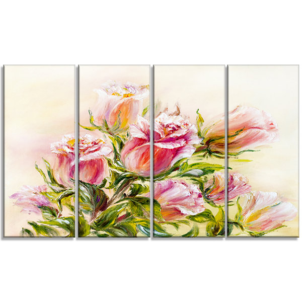 Designart Rose Oil Painting Floral Art Canvas Print - 4 Panels