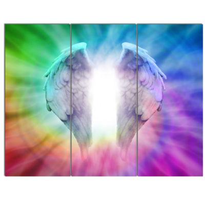 Designart Angel Wings On Rainbow Background Abstract Canvas Art Print - 3 Panels