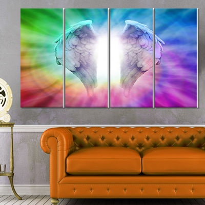 Designart Angel Wings On Rainbow Background Abstract Canvas Art Print - 4 Panels