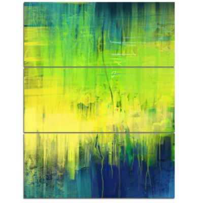 Designart Green Blue Fusion Abstract Canvas Art Print - 3 Panels