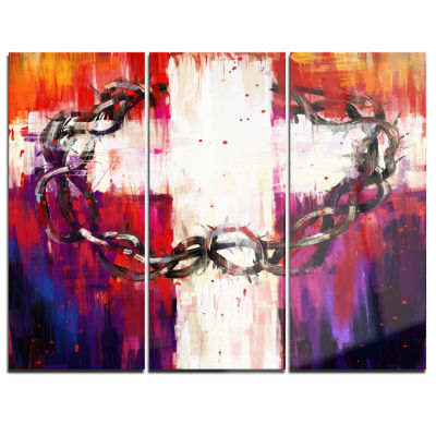 Designart Crown Of Thorns Abstract Canvas Art Print - 3 Panels