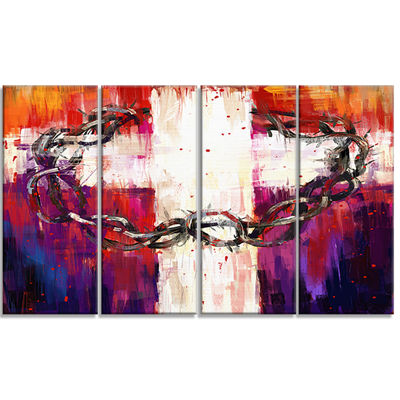 Designart Crown Of Thorns Abstract Canvas Art Print - 4 Panels