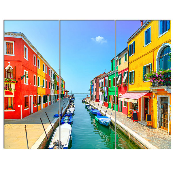 Designart Colorful Burano Island Canal Venice Landscape Canvas Art - 3 Panels