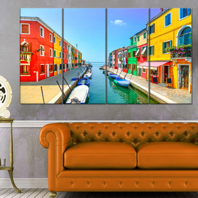 Designart Colorful Burano Island Canal Venice Landscape Canvas Art - 4 Panels