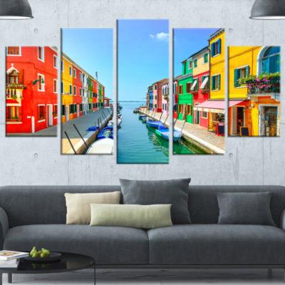 Designart Colorful Burano Island Canal Venice Landscape Canvas Art - 5 Panels