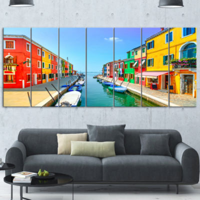 Designart Colorful Burano Island Canal Venice Landscape Canvas Art - 7 Panels