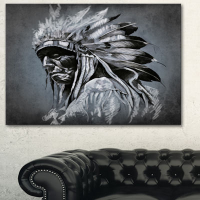 Designart American Indian Tattoo Art Portrait Canvas Print