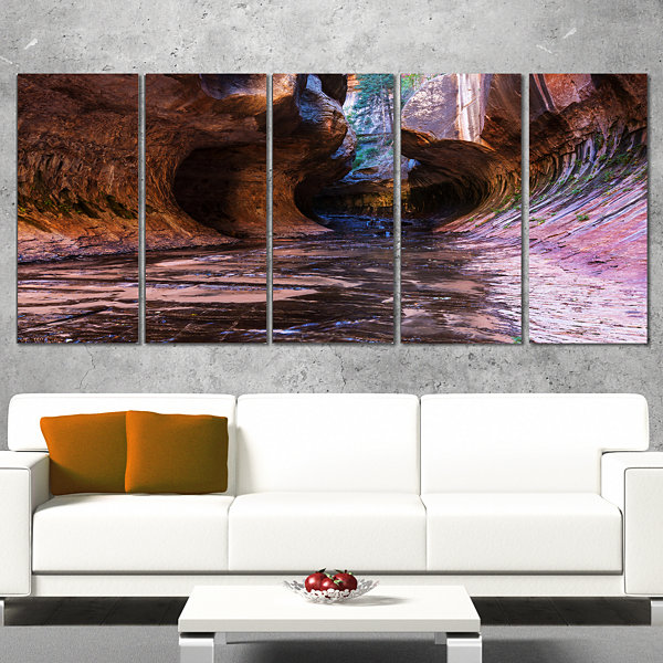 Design Art Cave In Zion National Park Utah Landscape Canvas Art Print - 5 Panels