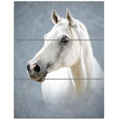 Designart A White Horse Alone Animal Art On Canvas- 3 Panels