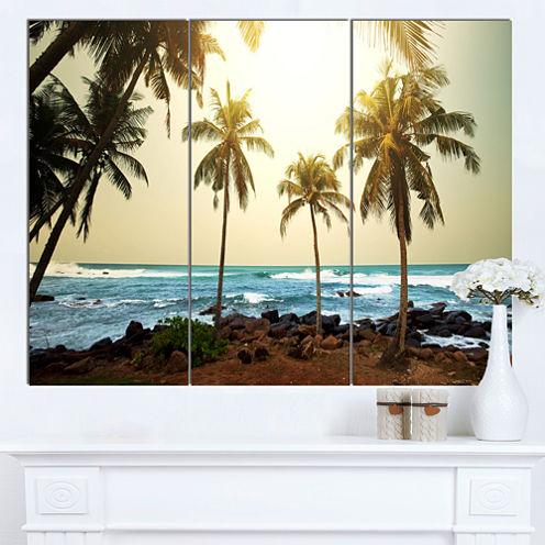 Design Art Rocky Tropical Beach With Palms Seashore Canvas Art Print - 3 Panels