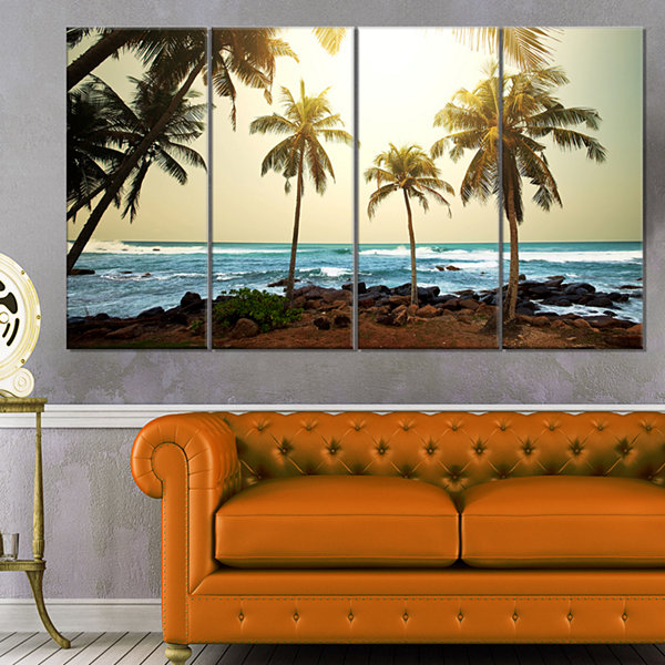 Designart Rocky Tropical Beach With Palms SeashoreCanvas Art Print - 4 Panels