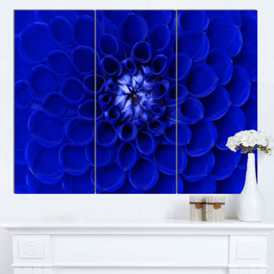 Designart Abstract Blue Flower Design Canvas ArtPrint - 3 Panels