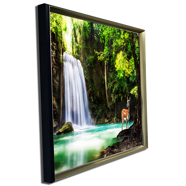 Design Art Erawan Waterfall Landscape Photo Canvas Art Print