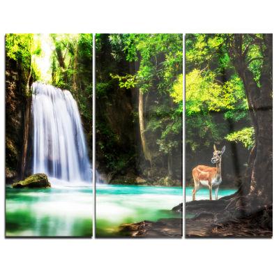 Design Art Erawan Waterfall Landscape Photo Canvas Art Print - 3 Panels