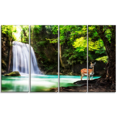 Designart Erawan Waterfall Landscape Photo CanvasArt Print - 4 Panels