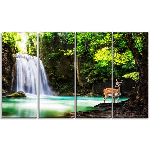 Design Art Erawan Waterfall Landscape Photo Canvas Art Print - 4 Panels