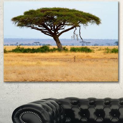 Designart Acadia Tree And Cheetah In Africa Landscape Canvas Art