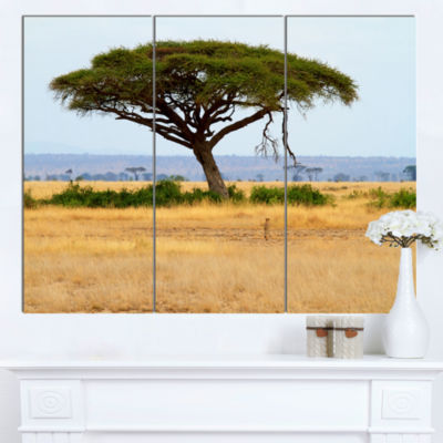 Design Art Acadia Tree And Cheetah In Africa Landscape Canvas Art - 3 Panels