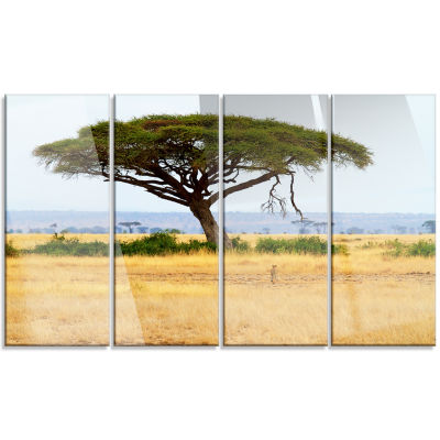 Designart Acadia Tree And Cheetah In Africa Landscape Canvas Art - 4 Panels