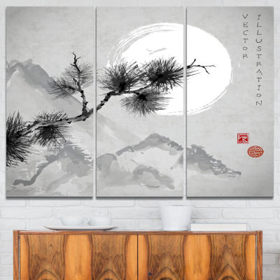 Designart Pine Tree Branch Japanese Canvas Art Print - 3 Panels