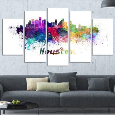 Designart Houston Skyline (373) Cityscape CanvasArtwork Print - 5 Panels