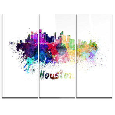 Design Art Houston Skyline Cityscape Canvas Artwork Print - 3 Panels