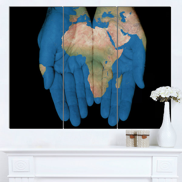 Designart African Map In Our Hands Abstract CanvasArt work - 3 Panels