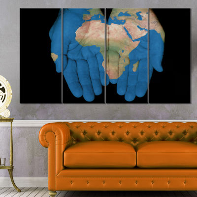 Designart African Map In Our Hands Abstract CanvasArtwork - 4 Panels